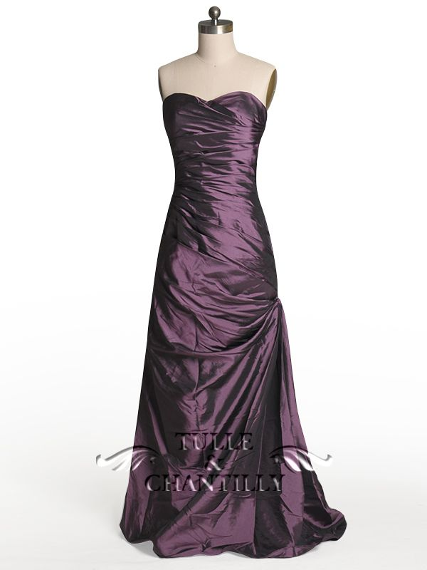 Purple wedding ideas - Modest Taffeta Fitted Ruffled Aubergine ...