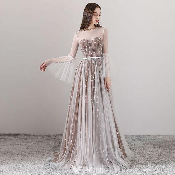 Elegant Brown See-through Evening Dresses 2019 A-Line / Princess Scoop Neck Long Sleeve Appliques Flower Sash Floor-Length / Long Ruffle Backless Formal Dresses