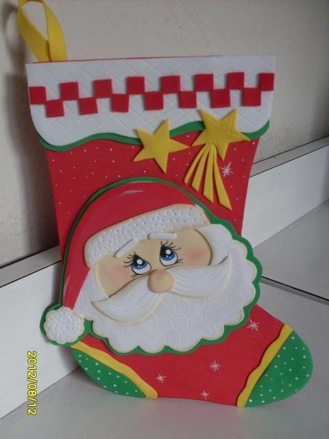 Bota de santa | Foami de navidad | Pinterest | Navidad, Goma eva y ...