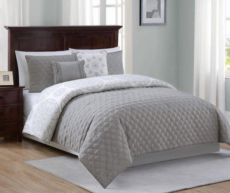 Living Colors Mia Gray Full Queen 5 Piece Reversible Comforter Set