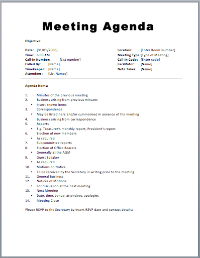 agenda sample for meeting
