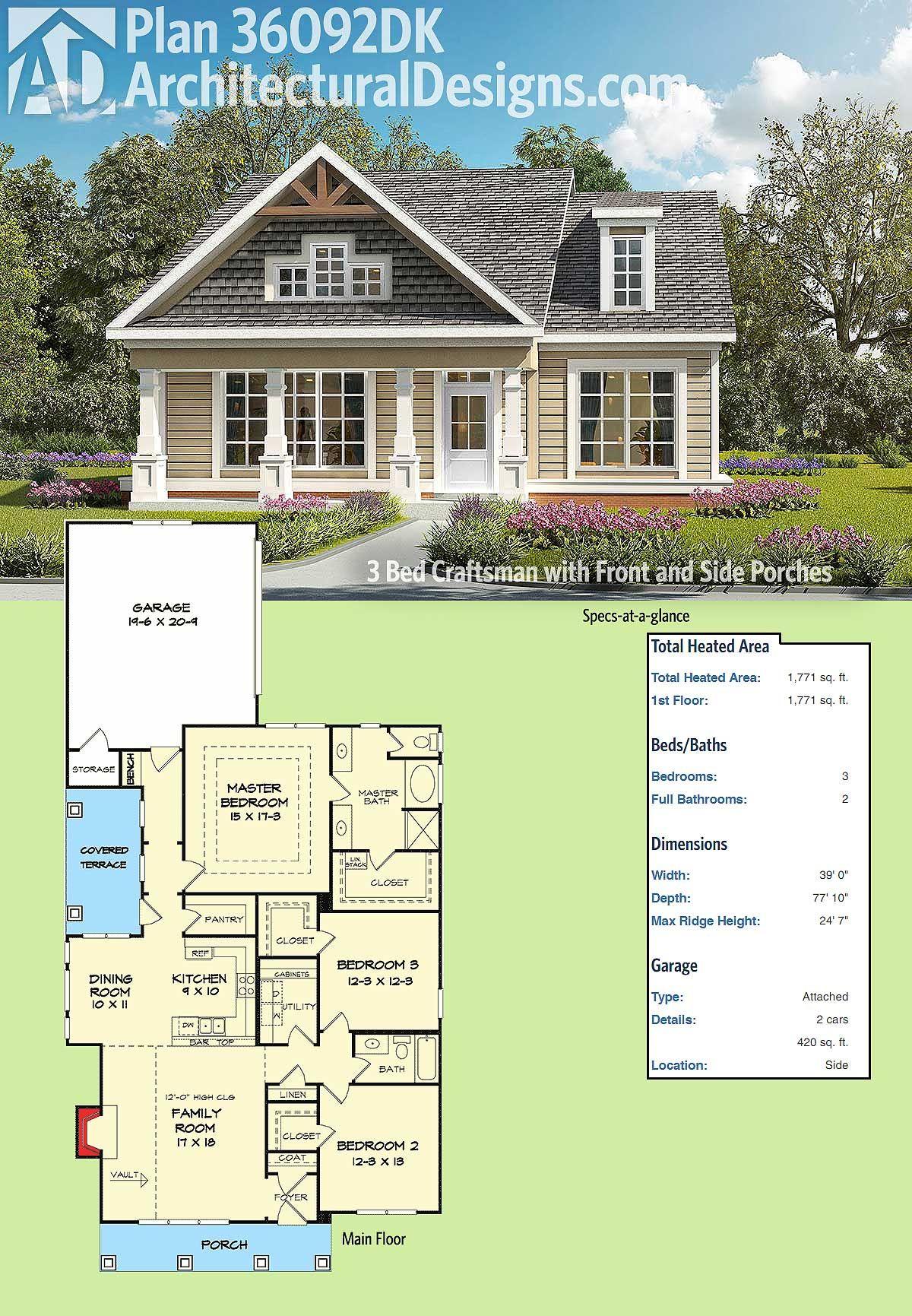 Architectural Designs 3 Bed Craftsman House Plan