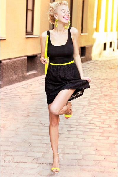 Little black dress with neon yellow accessories. | Fashion & Style ...