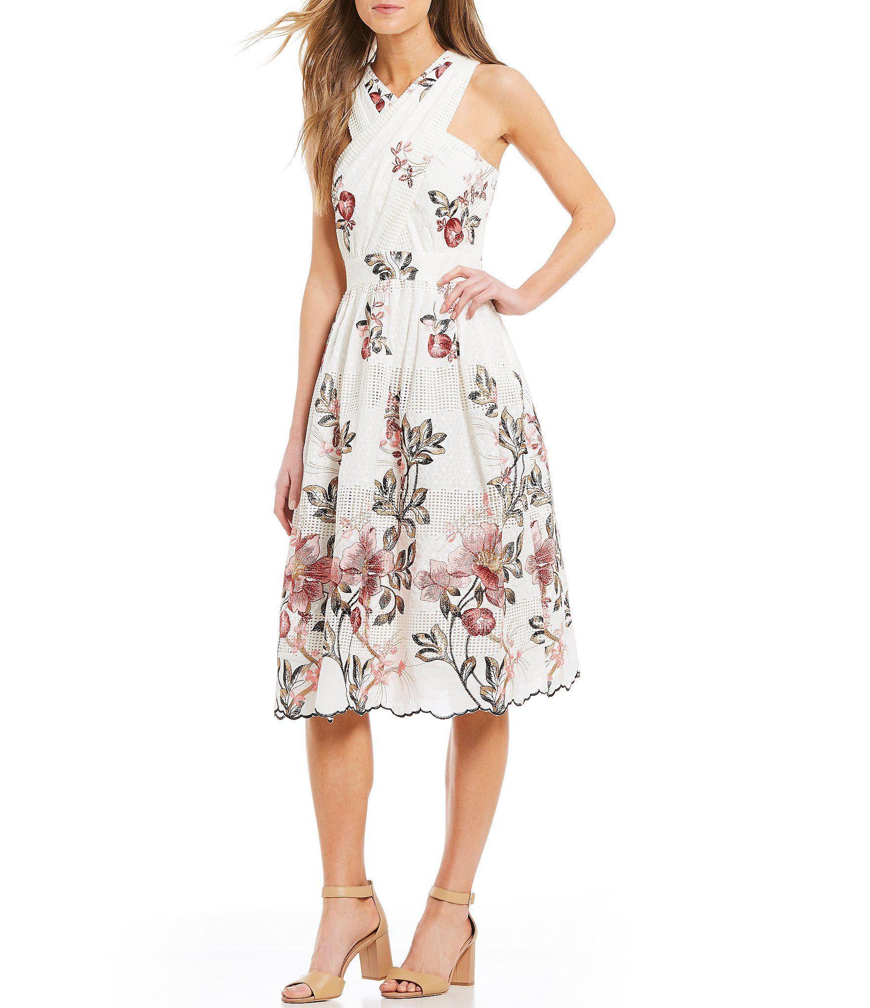bc599d7b258 Shop for Antonio Melani Floss Floral Print Eyelet Cross Front Midi Dress at  Dillards.com. Visit Dillards.com to find clothing