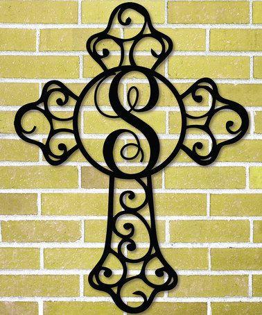 Black Ornate Steel Cross Initial Wall Décor #zulily #zulilyfinds ...