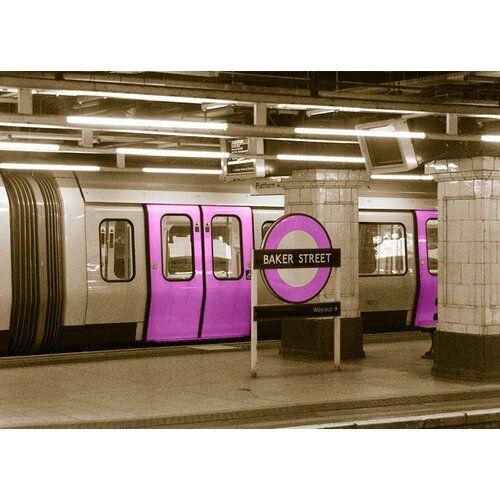 East Urban Home glass picture Around the World London Underground, graphic print in purple | Wayfair.de