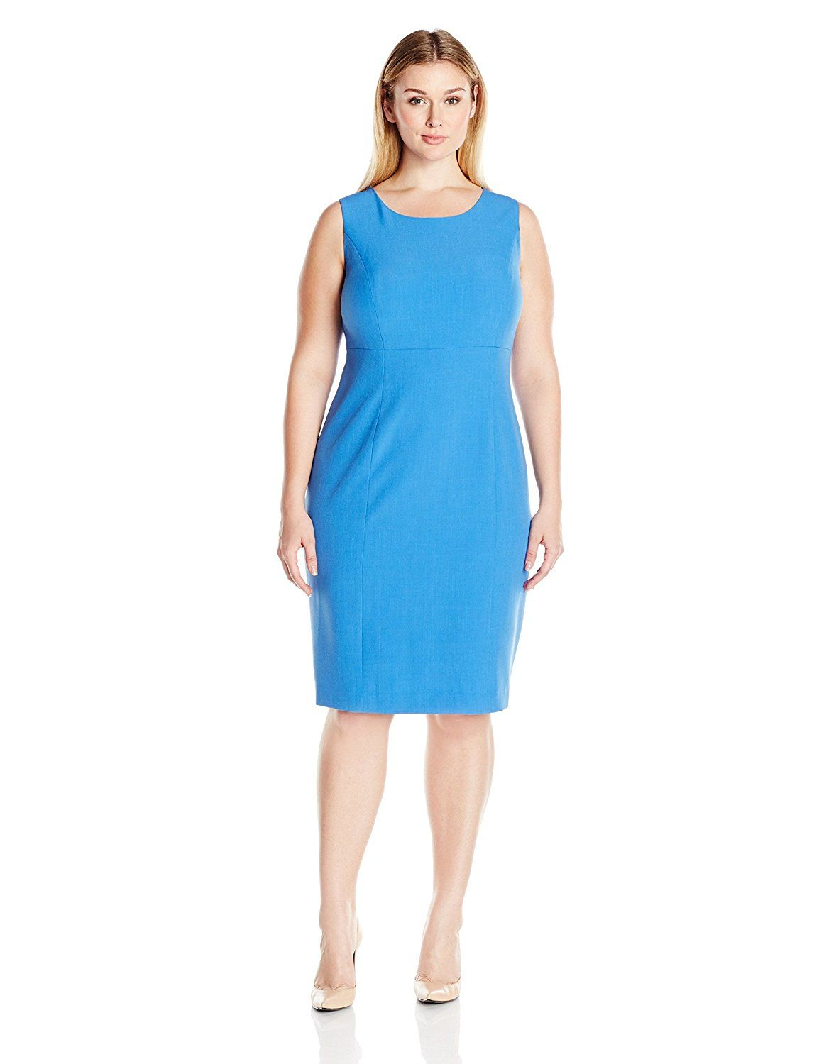f1b36a928c83 Kasper Women's Plus-Size Solid Stretch Crepe Sheath Dress *** To view  further for this item, visit the image link. (This is an affiliate link and  I receive ...