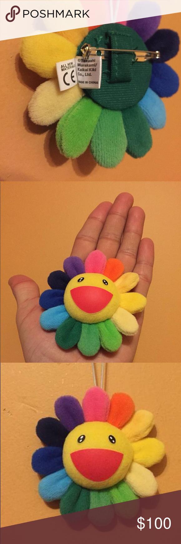 Authentic Murakami rainbow flower plush pin 100 percent