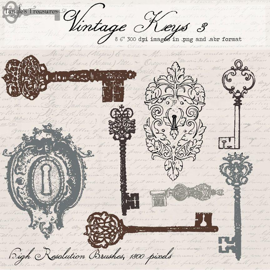 Vintage Locks And Keys 3 Digital Clip Art Photoshop Brushes Printable Artwork