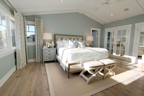 Steely Light Blue Bedroom Walls, Wide Plank Rustic Wood Floors, Patterned  Curtains,