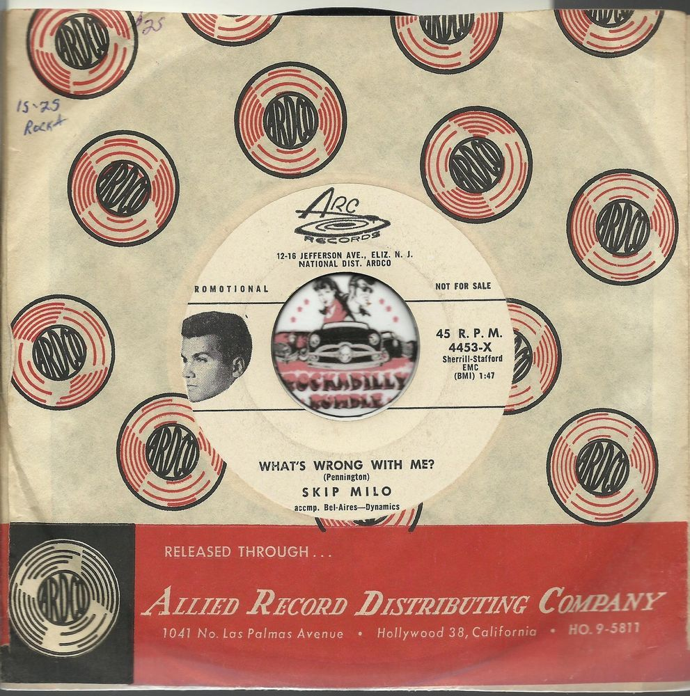 SKIP MILO WHATS WRONG WITH ME ROCKABILLY BOPPER PROMO DJ WLP 45 RPM RECORD NM-  $60.00