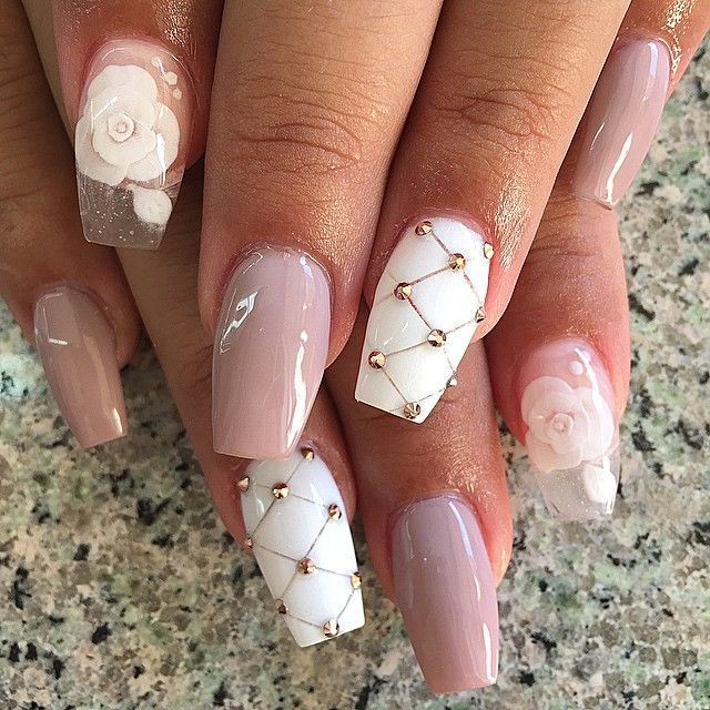Light Pink Rose And White Patterned Nail Design Womens Classy
