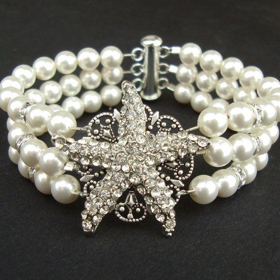 Bridal Starfish Bracelet, Pearl Wedding Bracelet, Beach Wedding Bridal Jewelry, Silver Starfish Bridal Bracelet, Vintage Style, SEA MAIDEN via Etsy