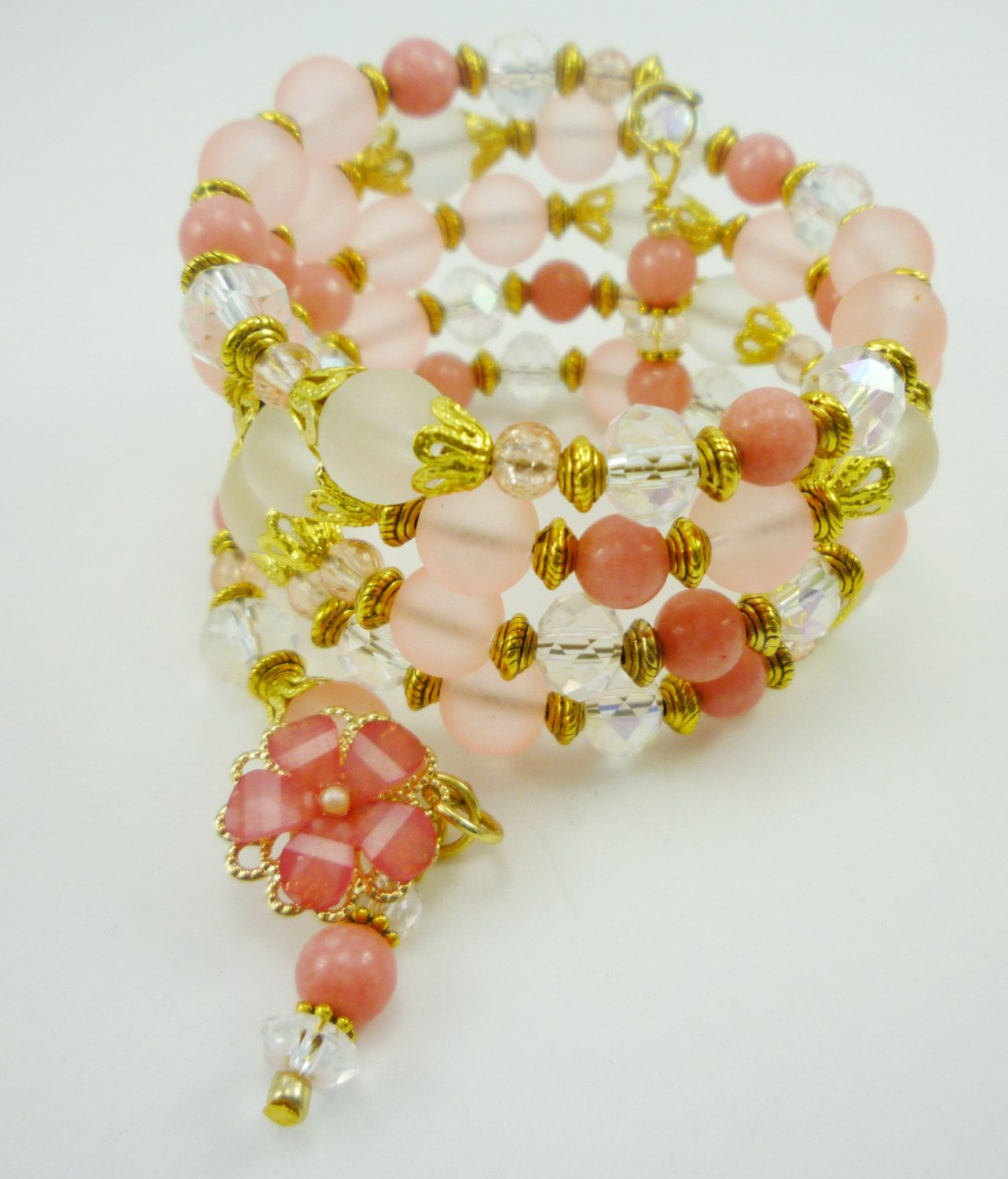 Pretty in Pink - Pink, White and Crystal with Gold Wrap Bracelet by peakaydesigns on Etsy
