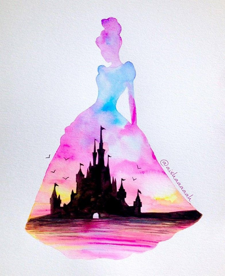 Disney Paint Colors And Ideas: Cinderella Silhouette With Castle