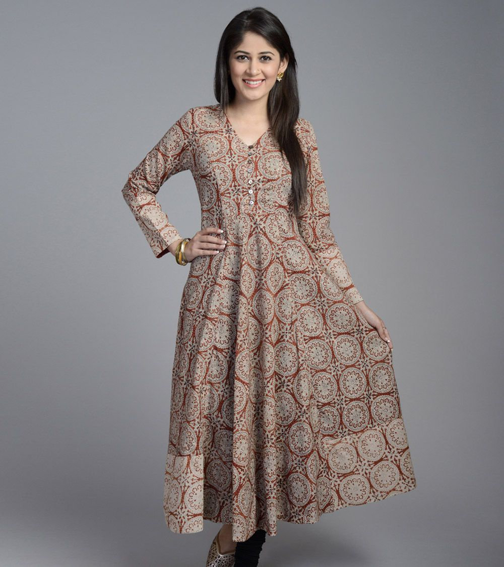 Brown Cotton Printed Anarkali Full Sleeves Long Kurta