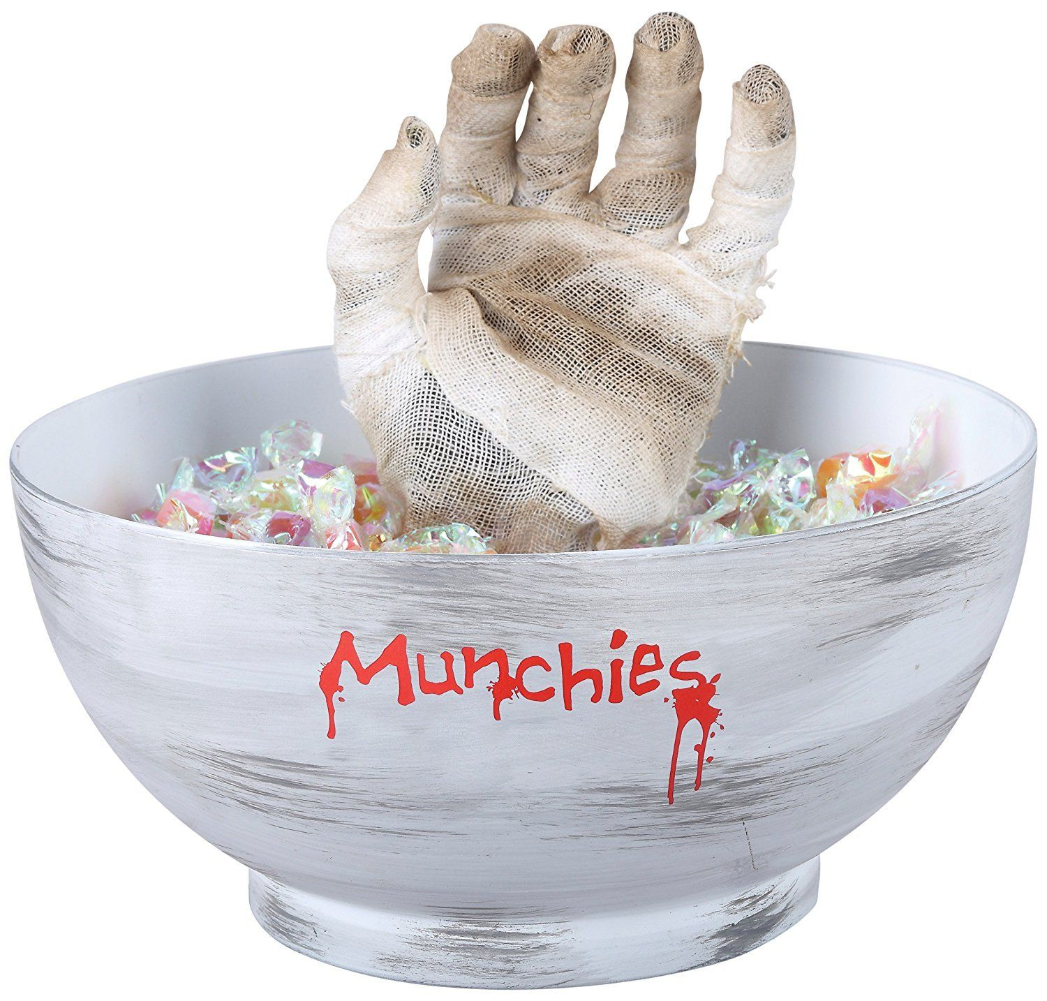 Animated Mummy Hand Candy Bowl Trick or Treat Dish