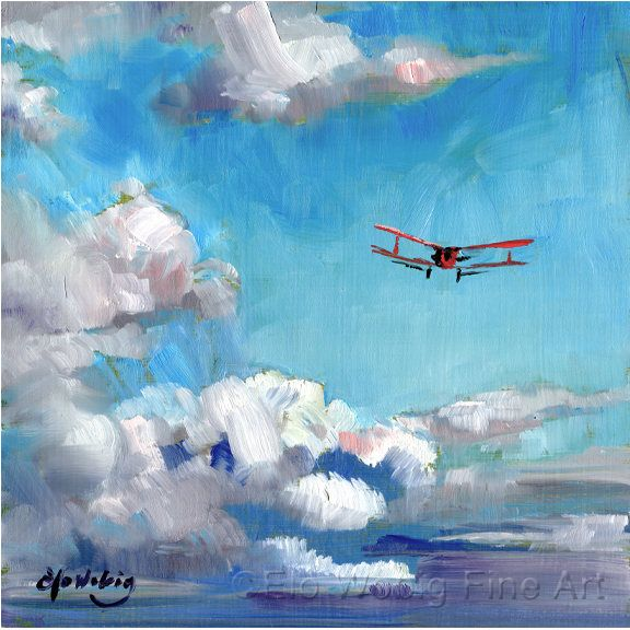 Original Oil Painting Small 8 X 8 Flying Airplane Soaring Through
