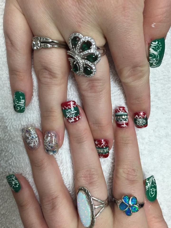 holiday nails, festive nail art, christmas nails, christmas nail art ...