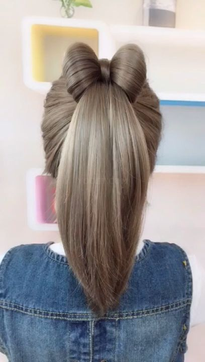 Beautiful Bow Hairstyle Hairstyle Videos Beautiful Bow H In 2020 Long Hair Styles Bow Hairstyle Hair Styles