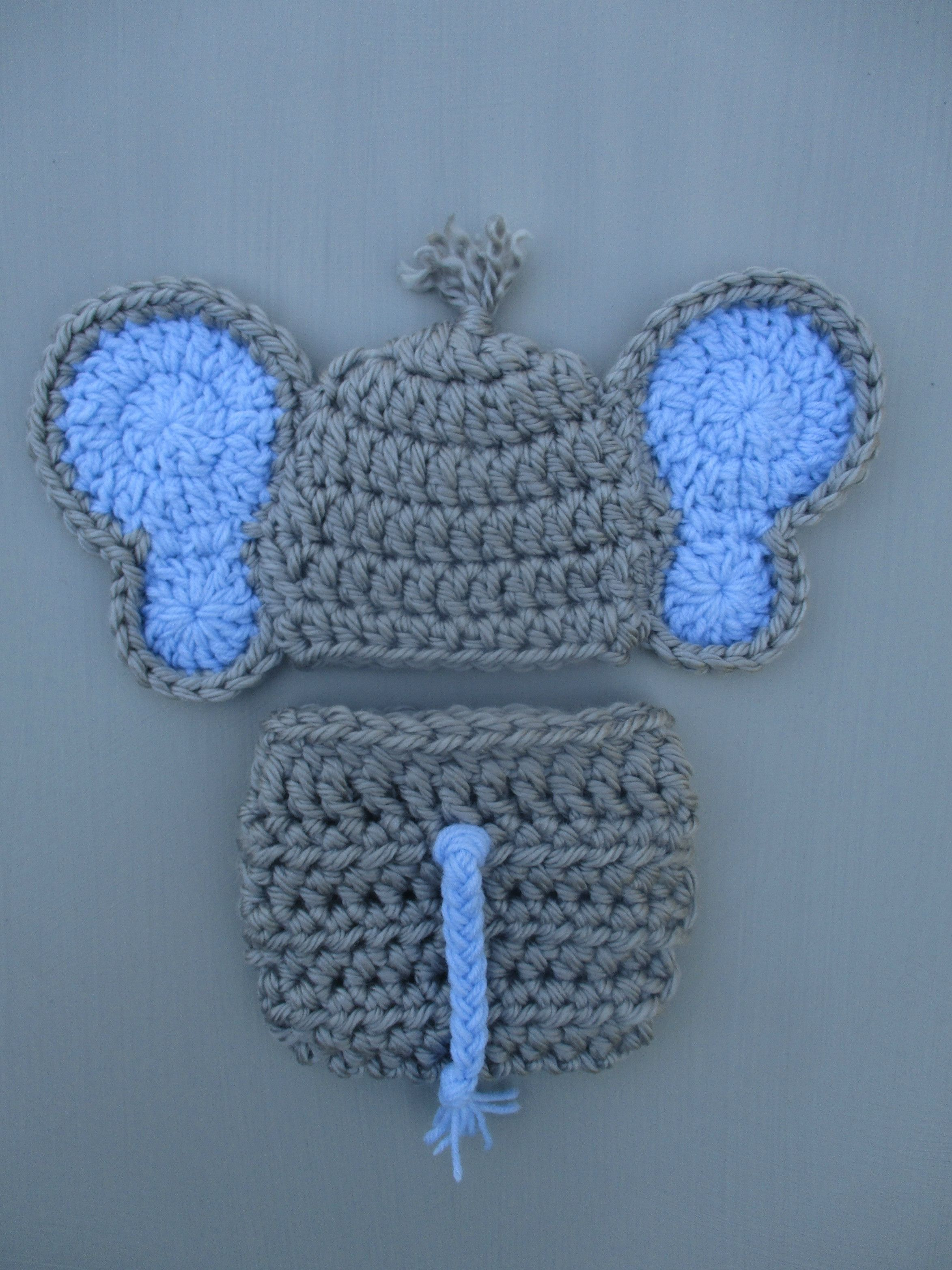 Crochet Elephant Baby Outfit Dallas Grey Newborn Photo Prop ...