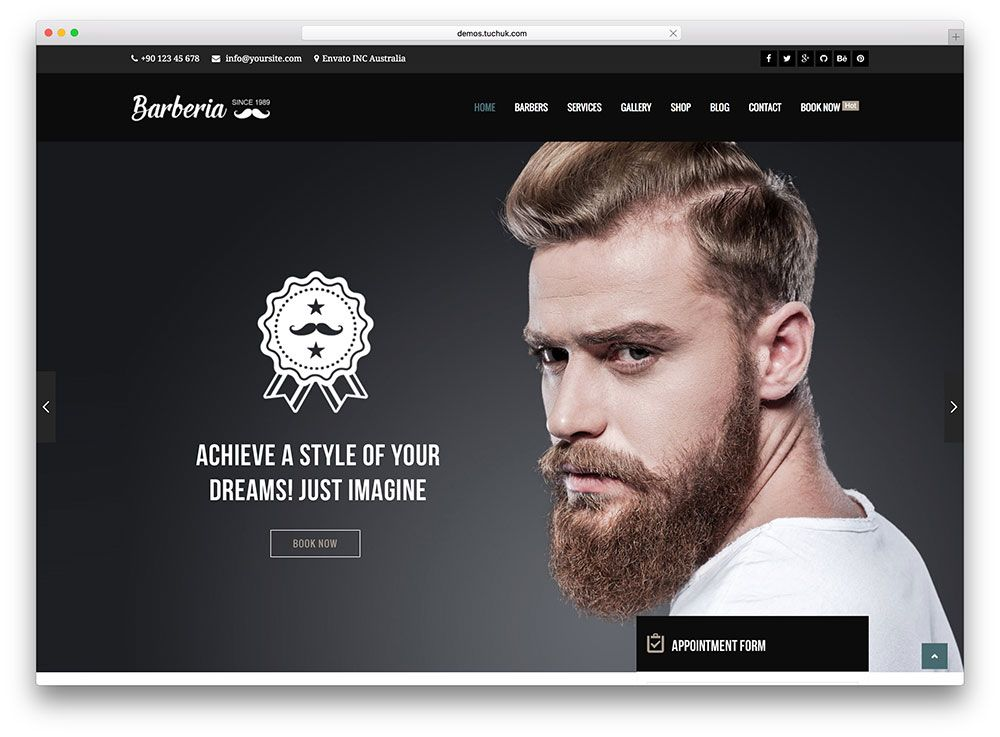barberia-barber-salon-wordpress-theme Barbershop designs