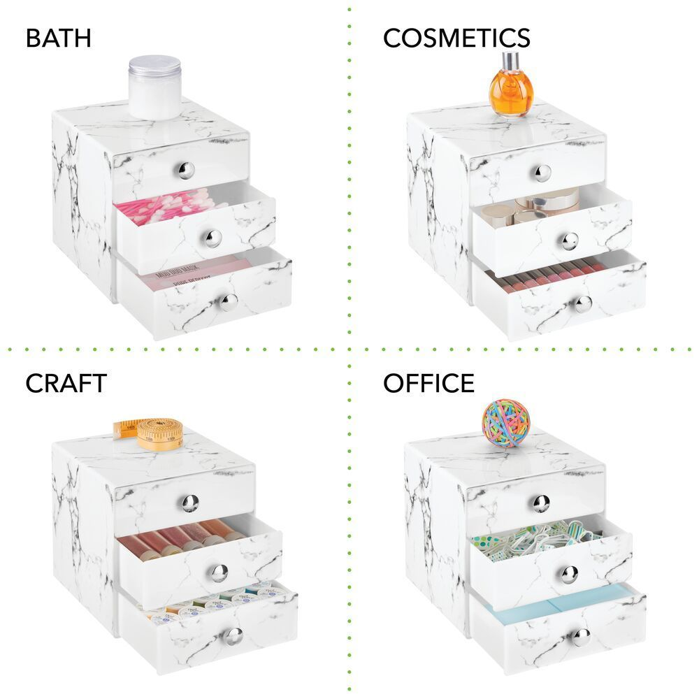 3 Drawer Plastic Makeup Cosmetic Organizer In Marble Print In Pack