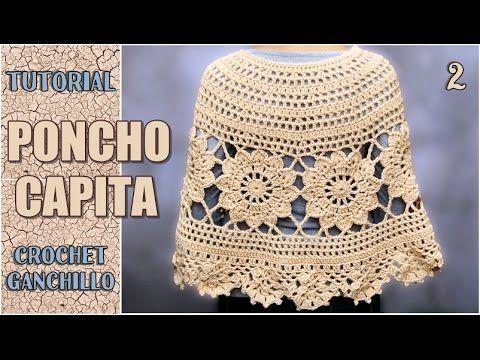 Poncho Capita tejida a crochet, con flores paso a paso (parte 2 de 3 ...