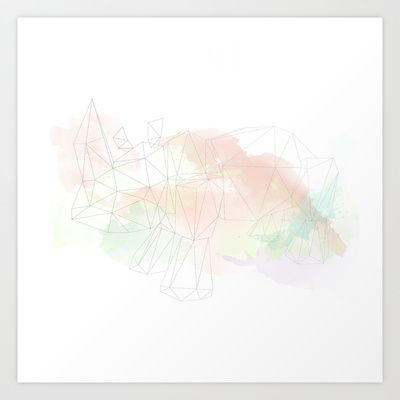 Geometric Rhino  Art Print by The Bearded Bird. - $14.00
