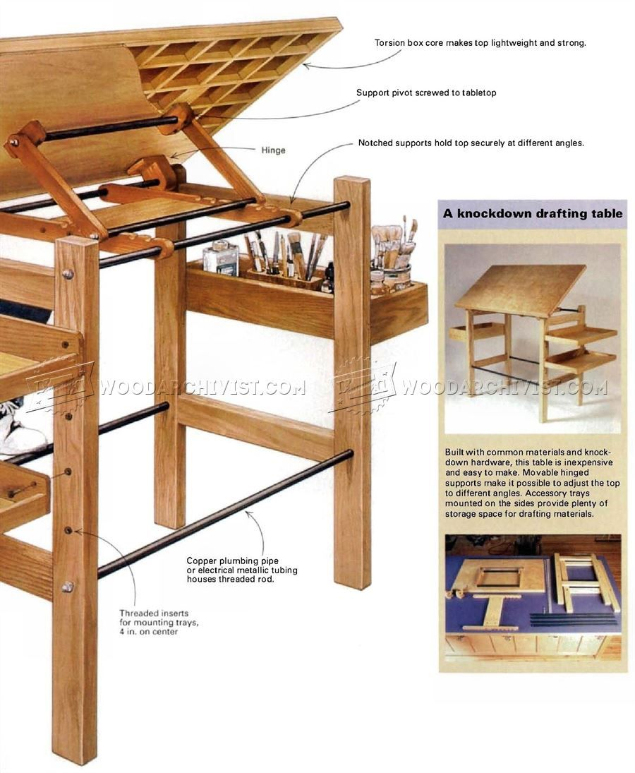 Knockdown Drafting Table Plans Woodarchivist In 2020 Wood Drafting Table Drafting Table Woodworking Plans