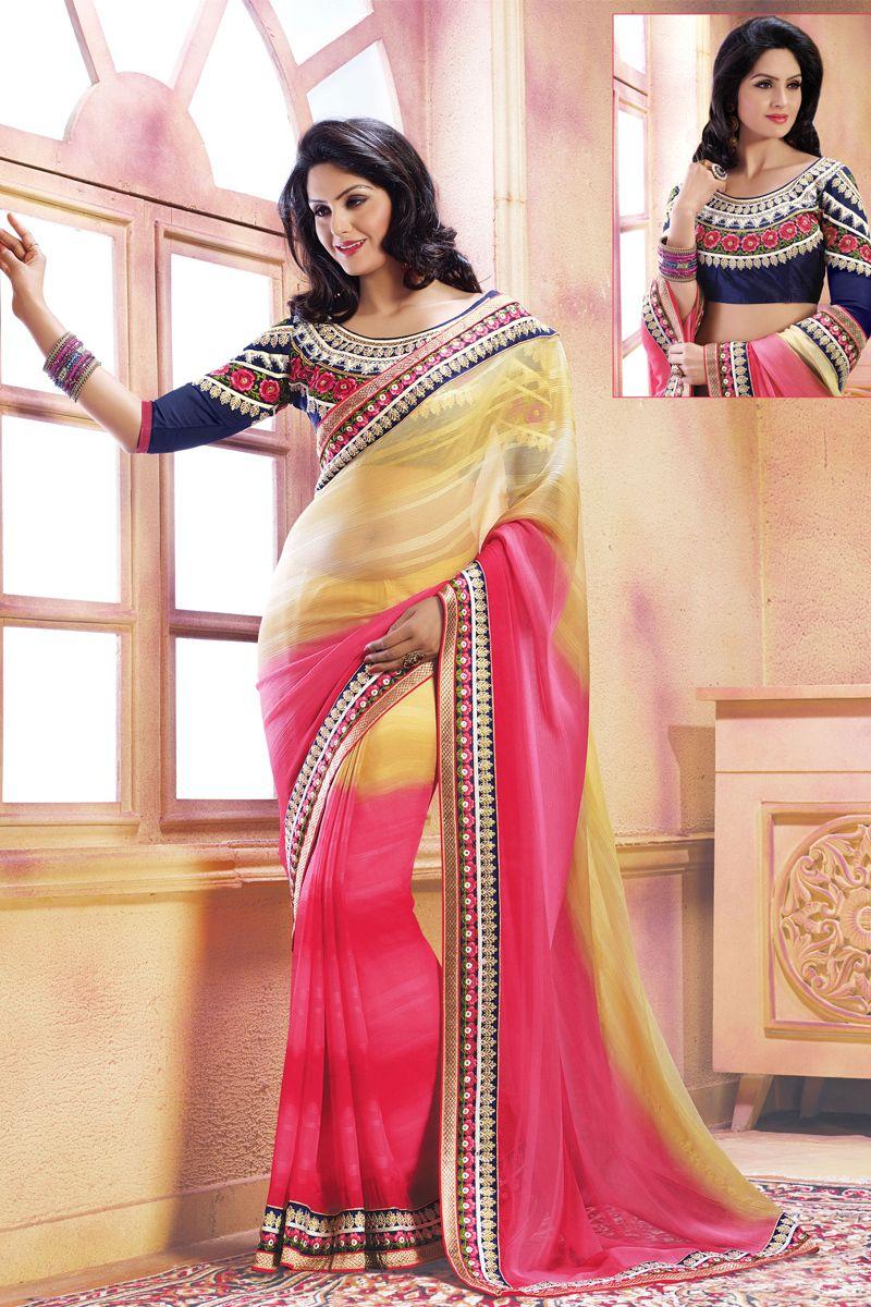 Lehenga saree for wedding bride pink color designer wedding bridal lehenga saree from skysarees