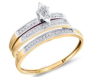Yellow Gold Diamond Bridal Set Diamond Engagement Rings Set