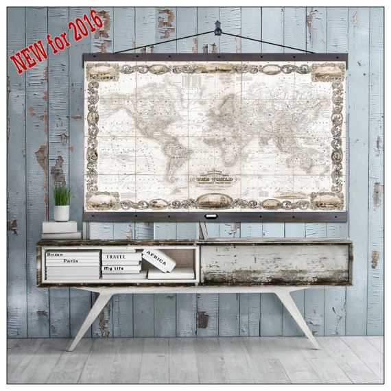 New pull down map world map on canvas 1857 60w x 40h hanging pull down map world map on canvas 1857 60w x 40h hanging map antique wall map gumiabroncs Images