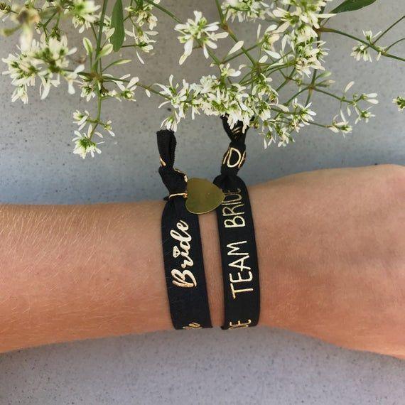 Armband Junggesellinnen-Abschied Set mit Anhänger Herz    JGA Bänder Hochzeit Bridesmaids Trauzeugin Braut