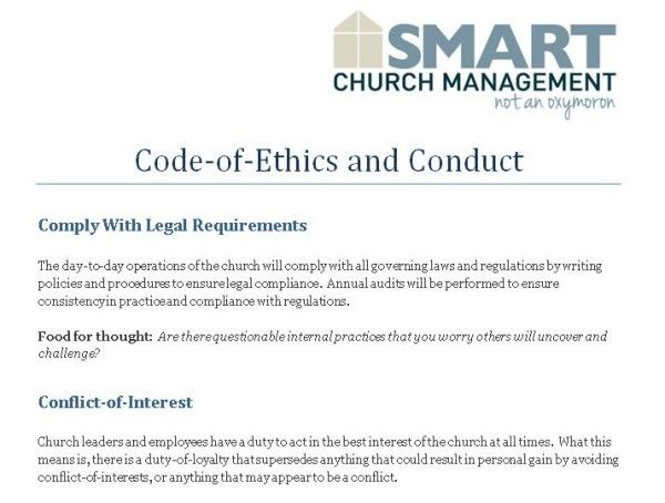 Church employees are not exempt from unethical behaviors and can - code of conduct example