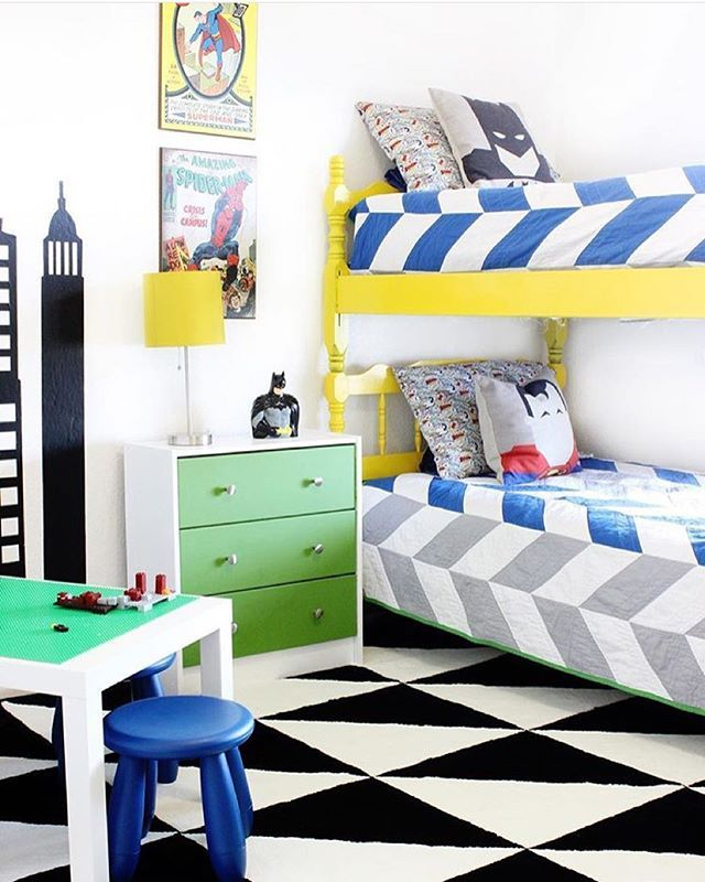 Superhero bunk-room!! Love this Thanks for the tag @classyclutter #decorforkids for a chance to be featured!