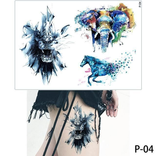 5fd4019ba 1X Diy Body Art Temporary Tattoo Colorful Animals Watercolor Painting  Drawing Horse Butterfly