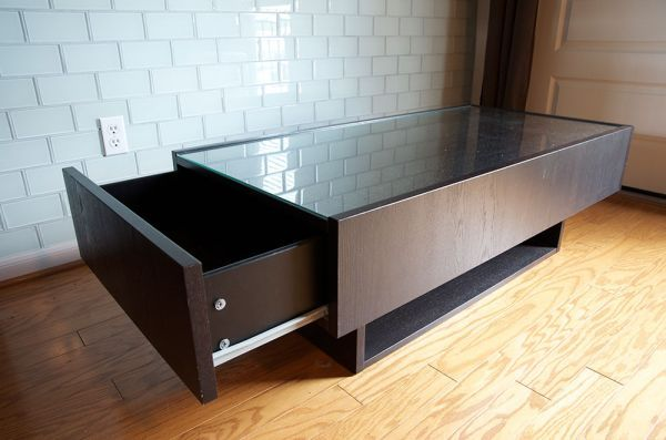 Coffee Table With Glass Top And Drawers