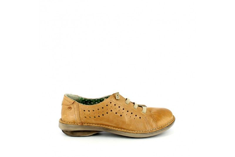 Mounty Cuoio | Lace up shoes in real leather vintage look with rubber band and colored fabric lining. Punctured on the sides, rubber sole 3 cm high