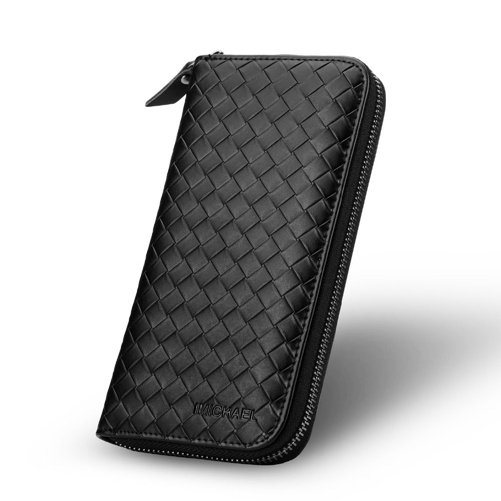 Wholesale genuine leather wallet case IMICHAEL brand women zipper bag for iphone 5/6/6 plus mobile phone packages Free shipping