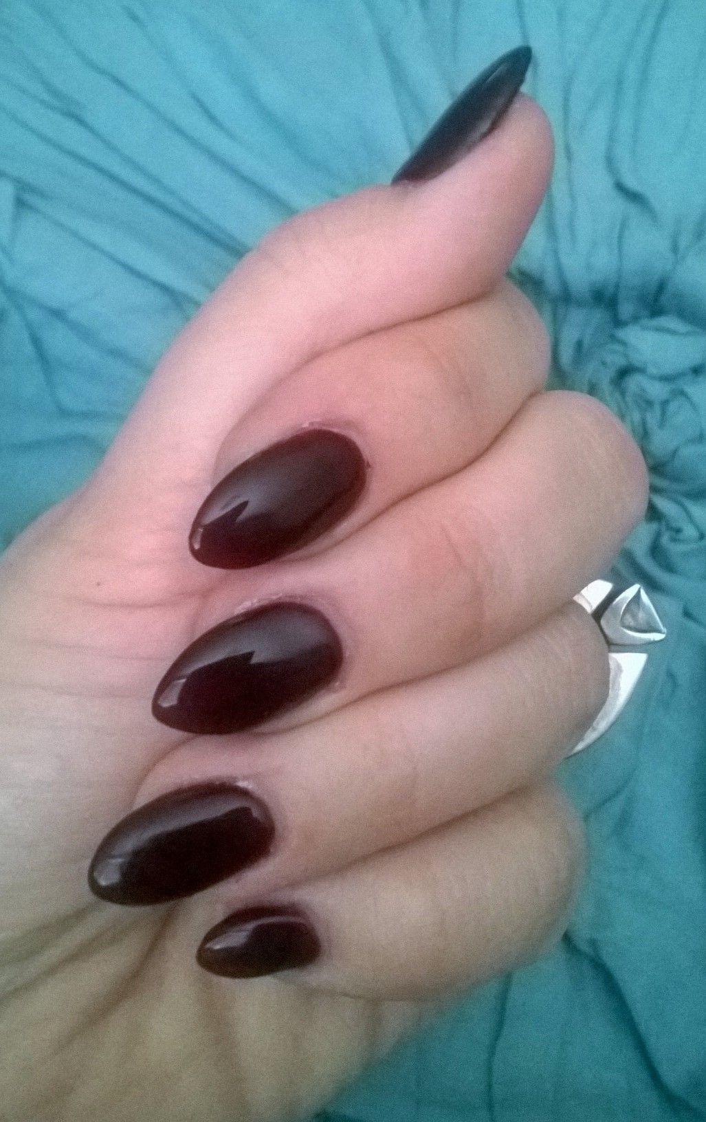 Oxblood gel polish on short almond shape. | Finger Bling Bling ...