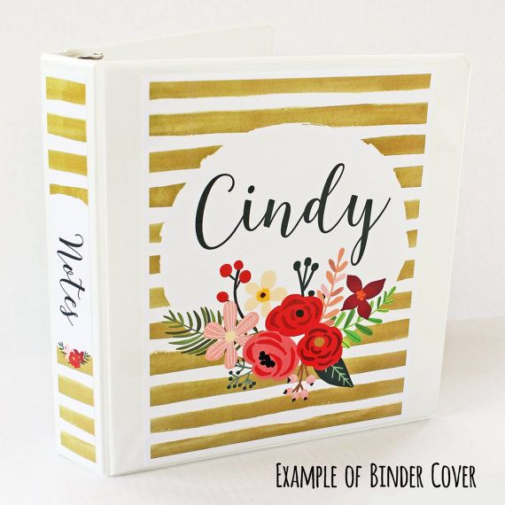 Personalized Printable Binder Cover. Includes Personalized