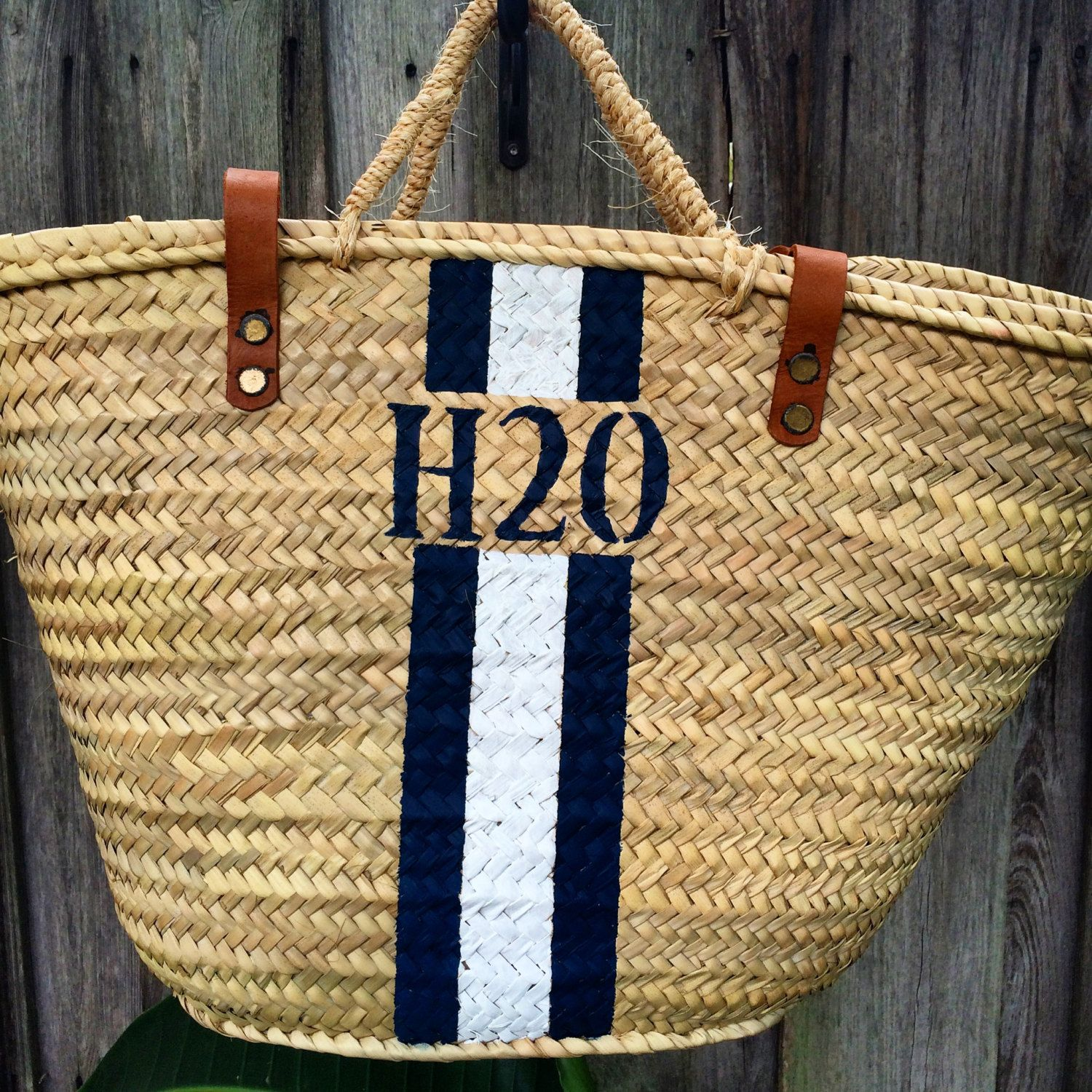 Monogrammed straw bag, personalized beach bag, custom initialed ...
