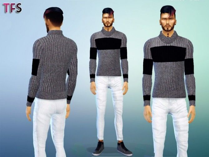 Black & Grey Sweater at Twistedfate Sims via Sims 4 Updates