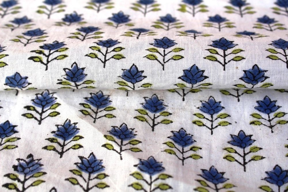 5 Yard Indian Multi Floral Hand Block Print Cotton`Fabric Dressmaking Sewing