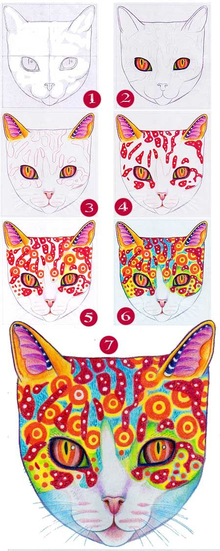 How To Draw A Cat Learn How To Create A Unique Colorful Cat Drawing Art Cat Drawing Cat Colors
