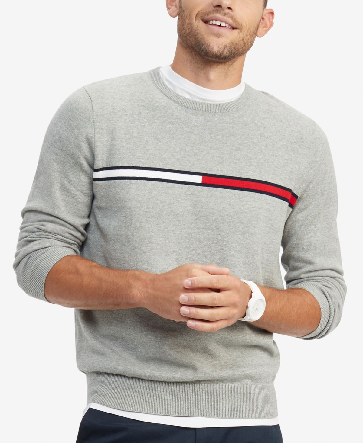 Tommy Hilfiger Men S Logo Crewneck Cotton Sweater Grey Heather In 2021 Nike Clothes Mens Tommy Hilfiger Outfits Men Sweater [ 1467 x 1200 Pixel ]