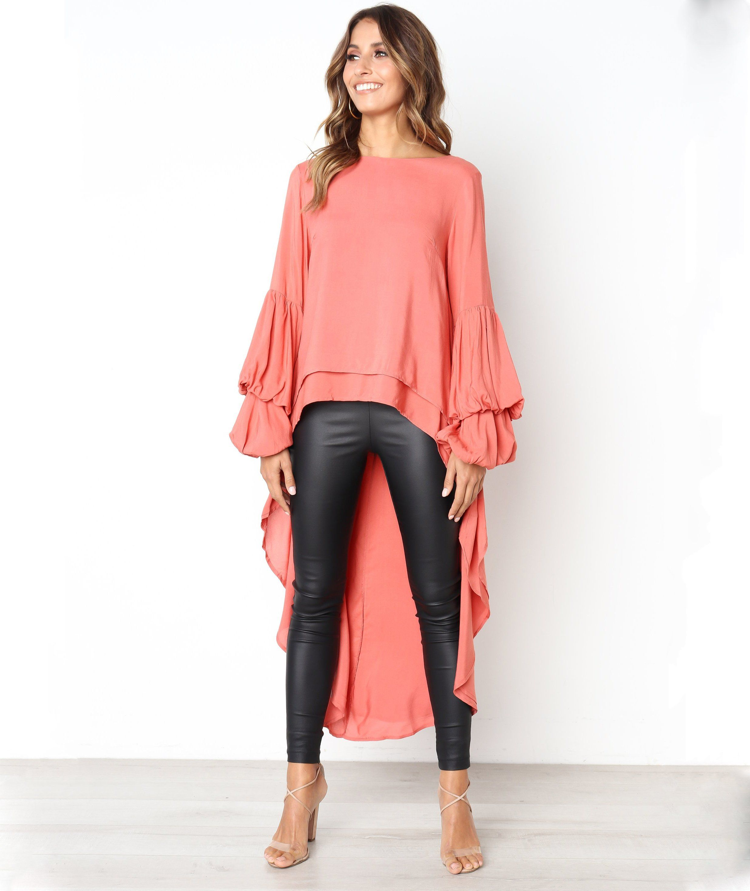 149c18fa539c Womens Puff Sleeve Baggy Asymmetric Chiffon Long Tops Blouse Ladies Solid  Shirts