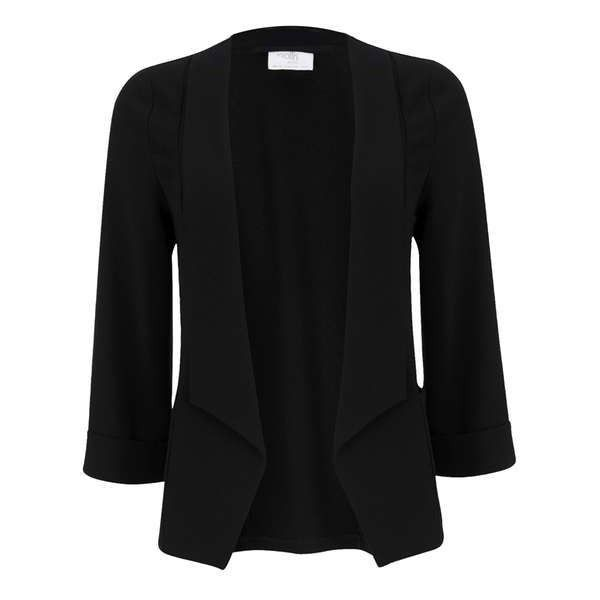 Petite Black Short Blazer Jacket (210 BRL) ❤ liked on Polyvore featuring outerwear, jackets, blazer jacket, short-sleeve jackets, petite blazer jackets, petite jackets and petite blazer