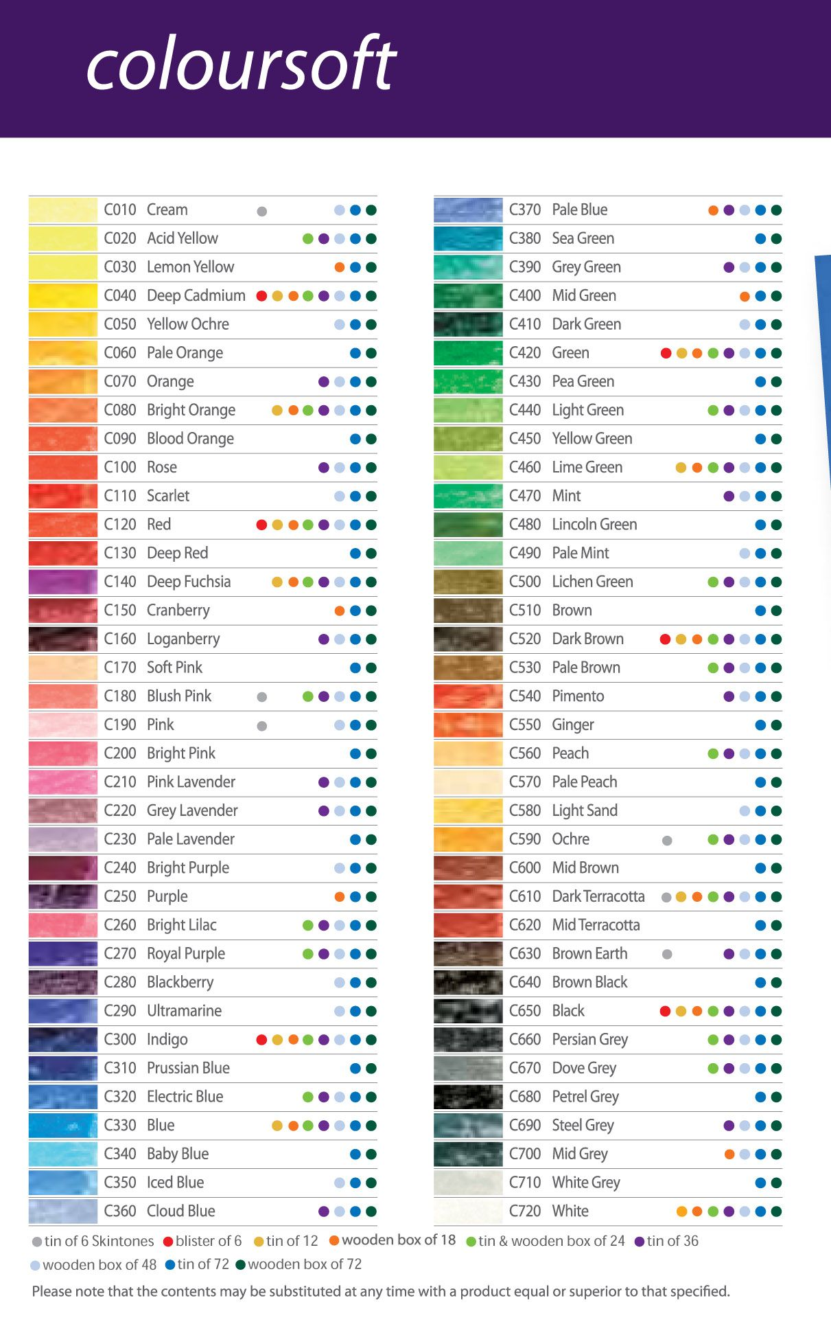 Afbeeldingsresultaat voor derwent coloursoft color chart